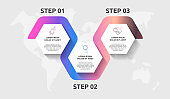 Vector infographic template hexagons for three icons, diagram, graph, presentation. Business concept with 3 steps. For content, flowchart, timeline, workflow, banner, marketing, levels, web, chart
