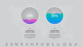 Vector 2 steps infographics with circles and waves. Template two parts used for diagram, business, web, banner, workflow layout, presentations, flowchart, content