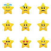 Cute cartoon star emoji set. Star shaped comic emoticons isolated set.