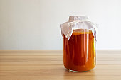 """homemade fermented drink Kombucha SCOBY """"symbiotic culture of bacteria and yeast"""""""