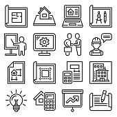 Project and Building Design Icons Set. Line Style Vector
