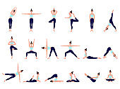 Healthy lifestyle. Collection of female cartoon characters demonstrating various yoga positions. Woman figures exercise in blue sportswear and black yoga pants