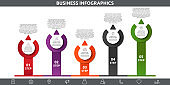 Vector flat template circle infographics. Business concept with 5 options and arrows