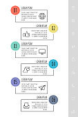 Modern vector infographic template with rectangles. Business banner with 6 options and circles.