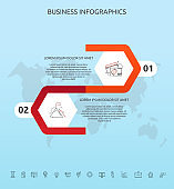 Vector infographic template hexagons for 2 icons, diagram, graph, presentation. Business concept with two steps. For content, flowchart, timeline, workflow, banner, workflow, banner, levels, chart