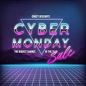 Cyber Monday Sale banner. Promotional online sale event. Futuristic advertising design. 80s futuristic background. Vector illustration.