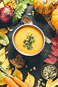 Pumpkin soup in a bowl, flat lay