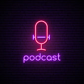 Neon podcast sign. Bright glowing microphone symbol.  Stock vector illustration.