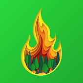 Save the forest. Let's save nature. Layered fire design in nature. Vector