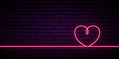 Valentine's background with neon pink heart one line on dark background. Bright lighting love heart. Valentine's day vector horizontal banner.