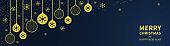 Christmas golden balls and confetti on a dark blue background. Congratulatory Christmas text. Horizontal Christmas banner, headers, sites. Flat modern design. Vector