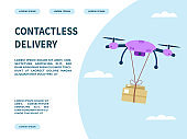Landing page of the site for the delivery service of the online store. Contactless online delivery. Safety during coronovirus. The drone delivers the box. Vector