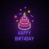 Happy birthday glowing neon signboard. Birthday Cake with a candle. Birthday celebration banner in neon style. Vector illustration.
