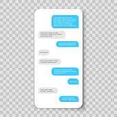Mobile phone chat. Messenger template. Smartphone message