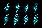 Neon bolt. Electric lighting sign. Light power thunder icon. Glow vector energy illustration.