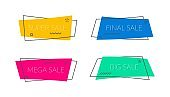 Sale banners shape. Vector promo ribbons and tags. Promoution modern sticker. Discount bubble.