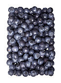 Ripe Bilberries. Sweet fresh whortleberries isolated on white background. Top view