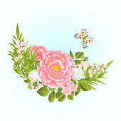 Floral crescent  frame with pink and  white Roses and butterfly on a blue background watercolor vintage vector illustration editable