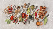Spices in vintage silver spoons as ingredient for healthy food