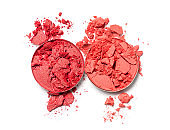 Red and coral crushed eyeshadow for makeup
