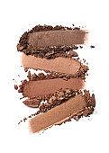 Broken brown or bronze color eyeshadow as sample of cosmetic beauty product