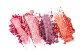 Broken bright multicolor eyeshadow as samples of cosmetic beauty product