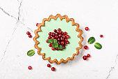 Tasty berry dessert with fresh green mint