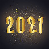 2021 new year realistic gold text numbers, postcard, banner, vector illustration