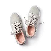 Top view of gray with pink sport shoes