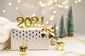 Numbers 2021 on Golden bokeh background New year mood, Christmas, greeting card, new year background