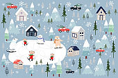 Vector Cute greeting card Christmas background, Winter landscape of wonderland with polar bear and rats playing ice skates for celebrating on Christmas Day,Cartoon illustration for Holiday background