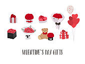 Valentine s day gifts ideas. Roses, balloons, sweets. Vector