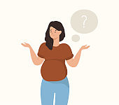 Thoughtful pregnant woman. Young pregnant woman thinking. Vector
