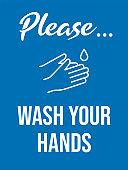 Please wash your hands. Vintage style bathroom sign. Coronavirus Covid 19 prevention. Vector