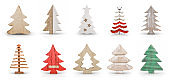 Wooden Christmas Trees Decoration Set