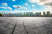 Chongqing asphalt road and city skyline in summer