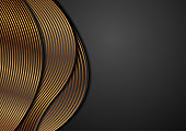 Black corporate wavy background with golden lines