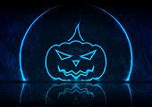 Blue neon Halloween pumpkin on grunge wall background