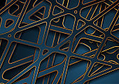 Blue and golden papercut 3d stripes abstract background