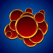 Red and bronze circles on blue background abstract design