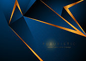 Blue and bronze geometric low poly background