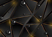 Hi-tech low poly background with black glossy beads