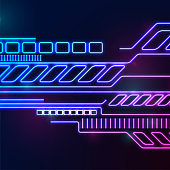 Blue purple glowing neon abstract technology background