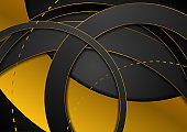 Black and bronze circle rings abstract background