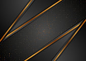 Black abstract background with bronze dots and stripes