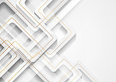 White geometric background with abstract golden lines