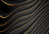Black and golden curved waves abstract luxury background