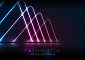 Blue purple neon laser shapes technology retro background