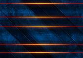 Orange neon laser lines on blue grunge wall background
