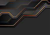 Black and bronze abstract technology background